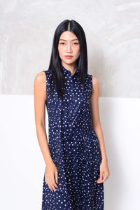 Basics-D-ring prints midi dress in navy