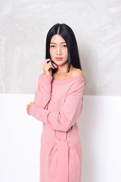 [FREE]Knit- Wide shoulder ribbon tier mini dress in pink