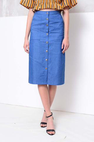 Casual-Jeans button through midi skirt in blue