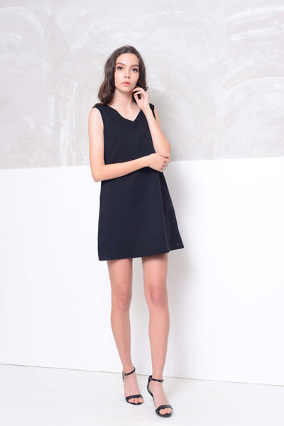 Basics-Back ribbon tie mini dress in black