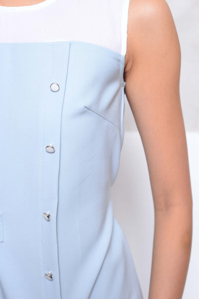 Collection- Slvless button through blouse in grey