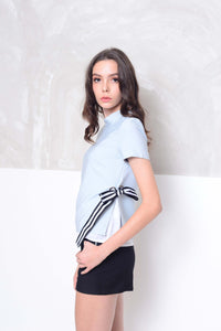 Collection-High neck layer blouse in grey
