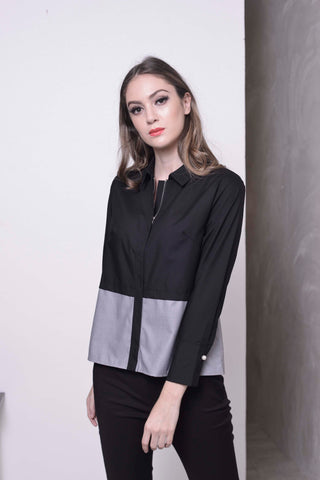 BASICS-Maivey Top in Black - Grey