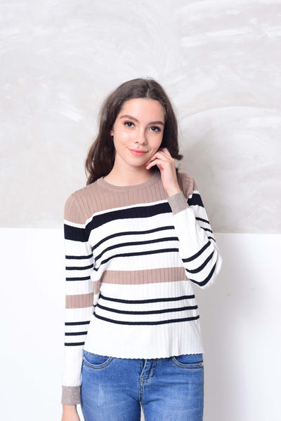 Knit- Round neck strips knit top in white