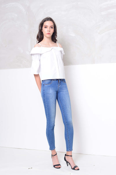 Casual-Drop shoulder cotton blouse in white
