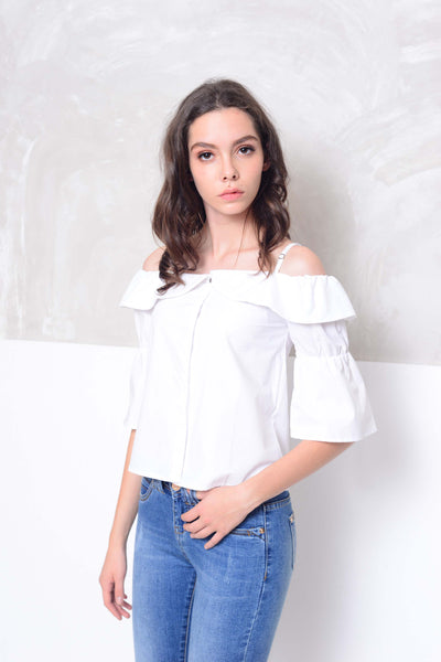 [BUY]Casual-Drop shoulder cotton blouse in white