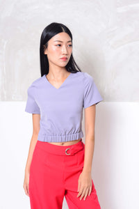 Basics- V neckline mini crop top in blue