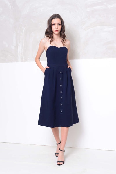 Collection- Midi length tube dress in navy