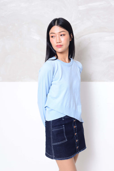 Knit- Round neck cross layer knit top in blue