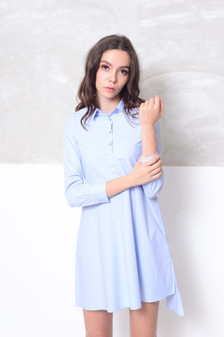 Casual-Cotton shirt mini dress in blue