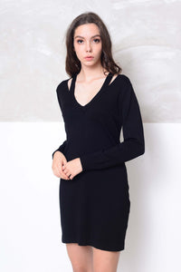 Knit- Cut out neck mini knit dress in black