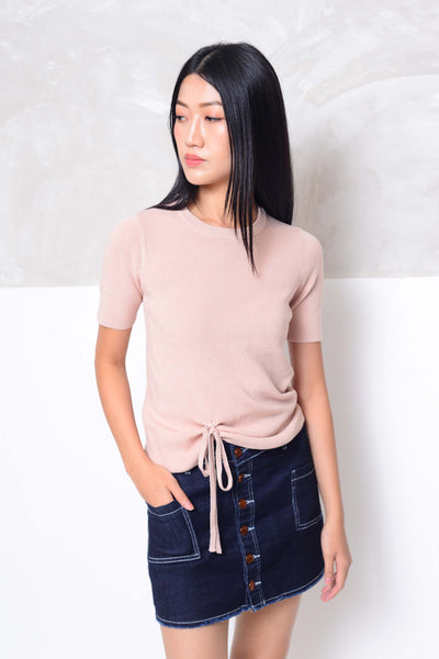 [FREE]Knit- V neckline front tier knit top in pink