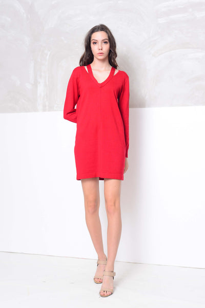 [FREE]Knit- Cut out neck mini knit dress in red