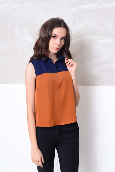 Casual-Slvless color block blouse in navy