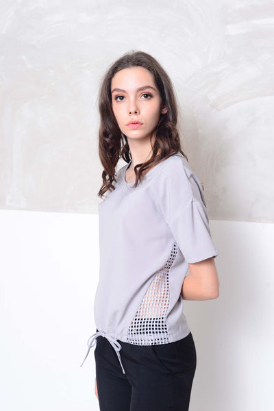 Basics-Drop shoulder blouse in grey