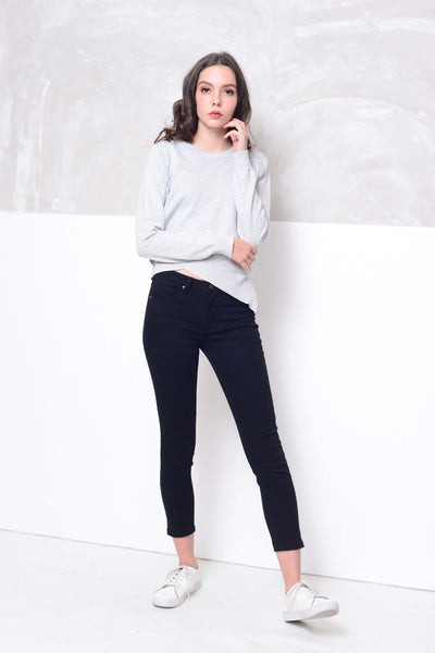 [FREE]Knit- Round neck cross layer knit top in grey