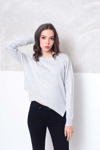 Knit- Round neck cross layer knit top in grey