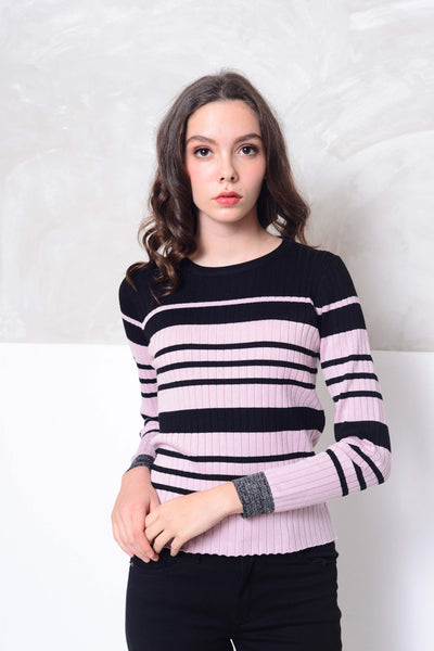 Knit- Round neck strips knit top in pink