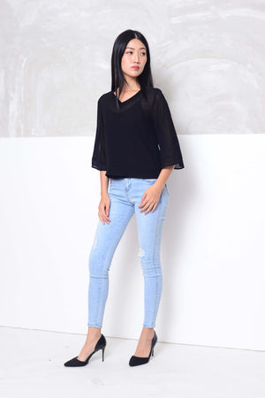 Basics-Chiffon 2-layer blouse in black