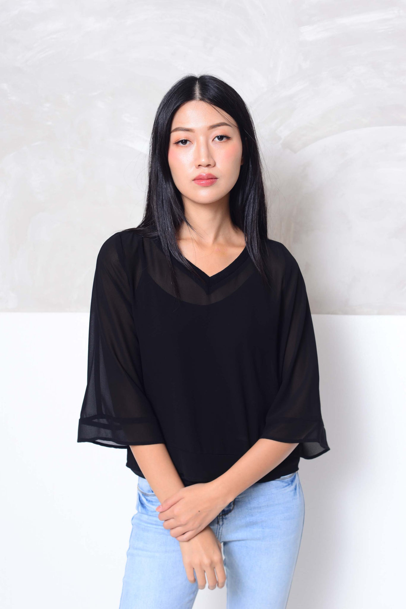[BUY]Basics-Chiffon 2-layer blouse in black