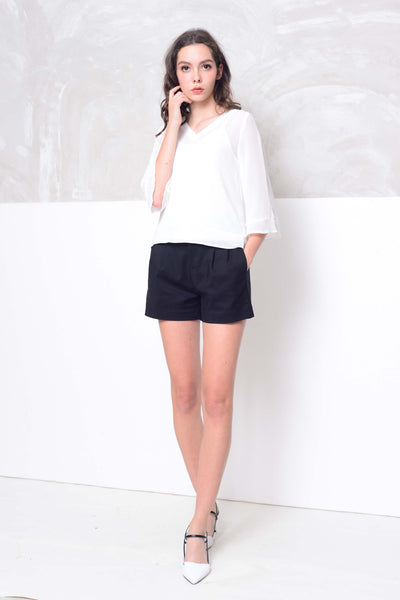 Basics-Chiffon 2-layer blouse in white