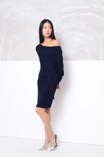 Knit- Wide shoulder ribbon tier mini dress in navy