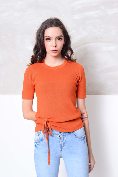 Knit- V neckline front tier knit top in orange