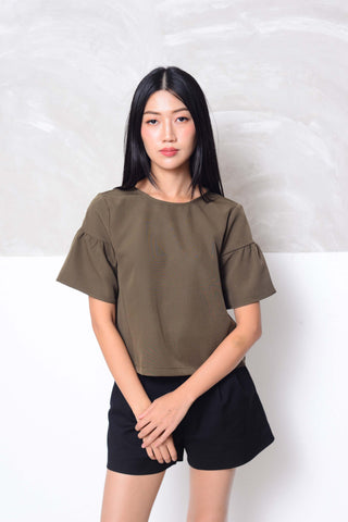 Basics-Flare sleeve design blouse in green