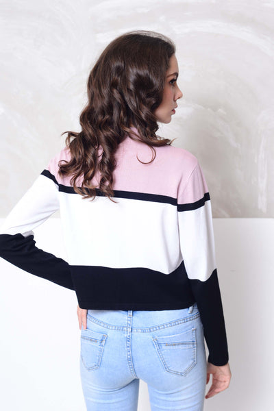 Knit- Fashion strips knit crop top in pink