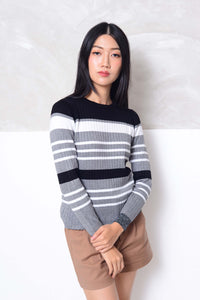Knit- Round neck strips knit top in grey
