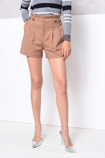 [BUY]Basics-High waisted flare shorts in brown