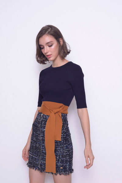 KNIT-Denisa Top in Navy