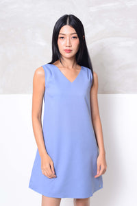 Basics-Back ribbon tie mini dress in blue