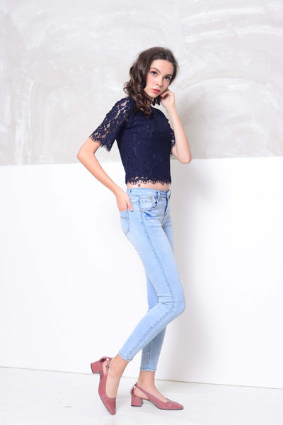 Casual-Short sleeve lace blouse in navy