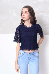 [BUY] Casual-Short sleeve lace blouse in navy