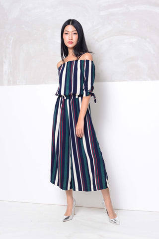 Basics-Strips prints wide leg jumpsuit in navy