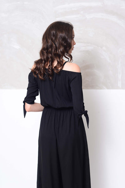 Basics-Strips prints wide leg jumpsuit in black