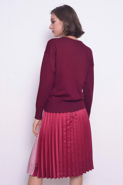 KNIT-Vanda Top in  Maroon