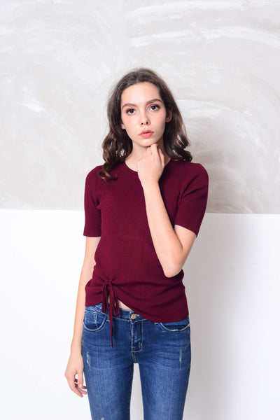 Knit- V neckline front tier knit top in maroon
