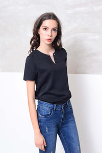 Basics-Short sleeve design blouse in black