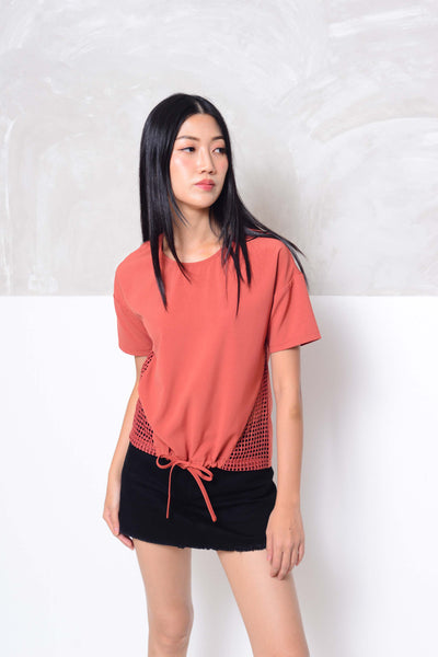 Basics-Drop shoulder blouse in red