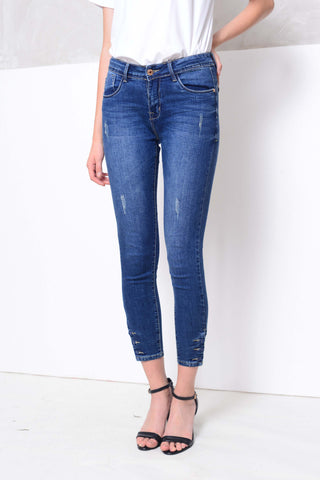 Denim- Denim skinny jeans in blue