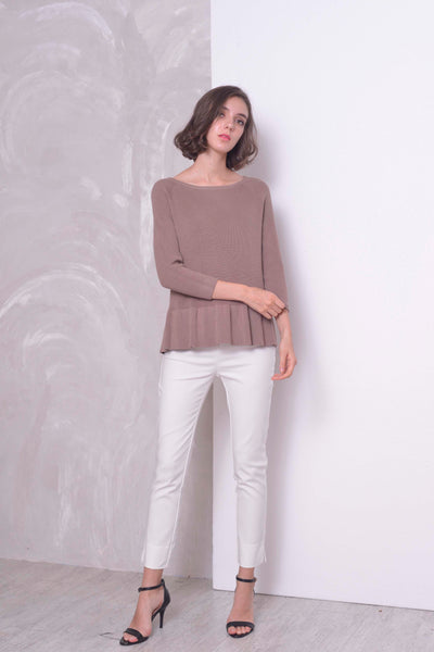 KNIT-Valda Top in  Brown
