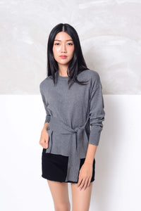[FREE]Knit- Design ribbon tier knit top in grey