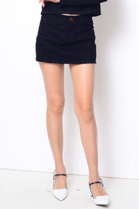 Denim-Denim high waisted skort in black