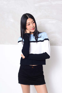 Knit- Fashion strips knit crop top in blue