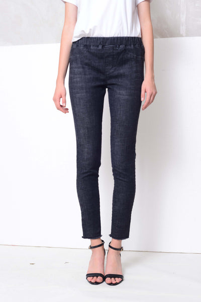 CASUAL-High rise skinny jeggings in black