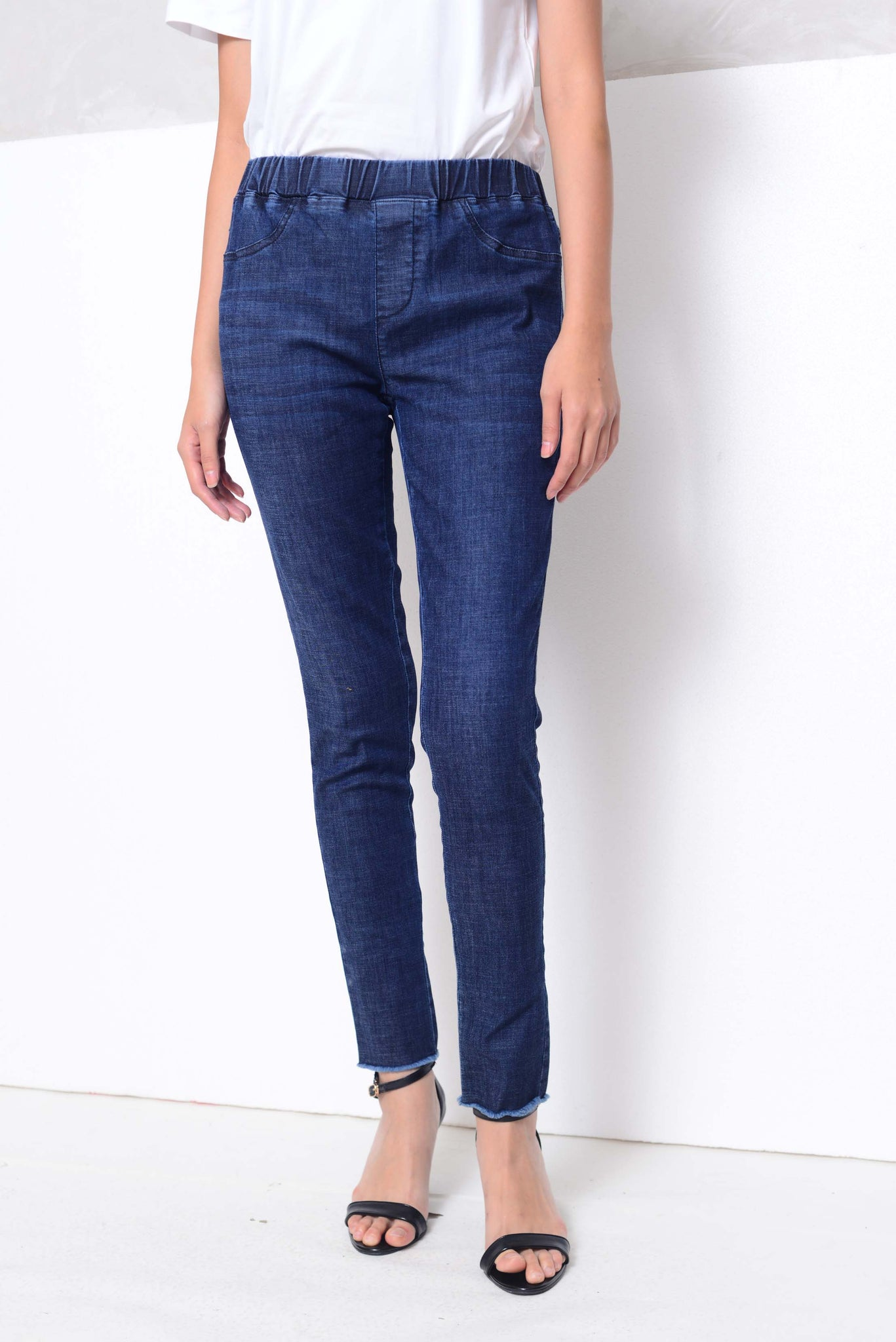 CASUAL-High rise skinny jeggings in blue