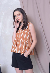 [BUY] Casual - Stripes Prints Ribbon Top in Khaki