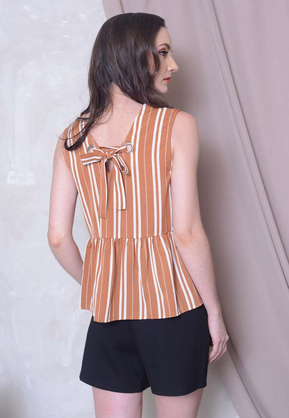Casual - Stripes Prints Ribbon Top in Khaki